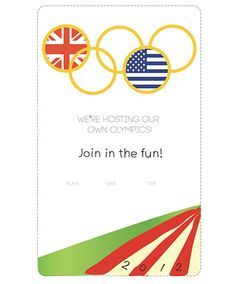 DIY Free Printable Invite - Olympics Party