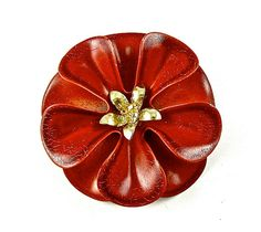 Brooch Flower Vintage Enamel Jewelry Earthy Brown by kiamichi7, $17.00