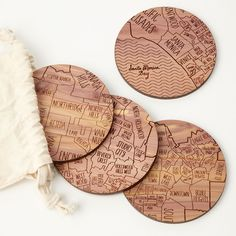 NEIGHBORWOODS MAP COASTERS | Laser etched city maps | UncommonGoods