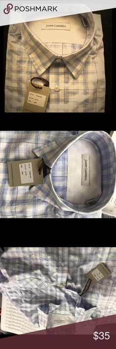 James Campbell light weight cotton l/s shirt Men's M one pocket, left chest, light & bright - great for the Hamptons James Campbell Shirts Casual Button Down Shirts