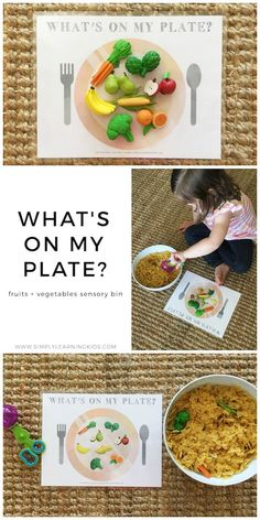 Fruits & Vegetables Sensory Bin - Simply Learning. Good for a preschool nutrition, healthy eating, or fruits and vegetables theme.