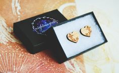 Wooden Heart shaped Stud Earrings by Nightmagnets on Etsy