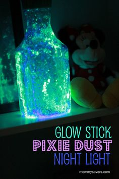 1. cut open a glow stick and shake contents into a jar  2. add some glitter  3. put lid on TIGHT (these get shaken extremely vigorously haha)    *Plastic OJ container to prevent breaking open