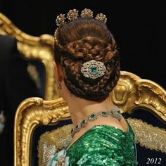 Hairstyle of Crown Princess Victoria at Nobel Prize ceremonies