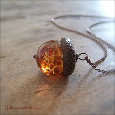 Glass Acorn Necklace in Autumn Tones by by bullseyebeads on Etsy, $24.00