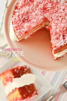Raspberry Zinger Cake recipe.  If you love the popular snack cake, you'll love this Raspberry Zinger Cake!! Sturdy yellow sponge cake is coated in raspberry and coconut and filled with marshmallow frosting.