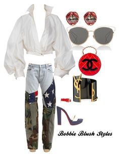 """""""Untitled #75"""" by bobbieblush on Polyvore featuring RVDK, Claude Montana, Christian Dior, Yves Saint Laurent, Marc Jacobs, Christian Louboutin and Chanel"""