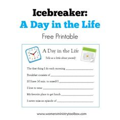 Day in the Life (Free Printable) Icebreaker A Day in the Life - Brand NEW icebreaker game with FREE printable at Women's Ministry Toolbox!Icebreaker A Day in the Life - Brand NEW icebreaker game with FREE printable at Women's Ministry Toolbox! Group Ice Breakers, Ice Breakers For Women, Teacher Ice Breakers, Ice Breaker Games For Adults, Womens Ministry Events, Ladies Ministry Ideas, Cover Shoot, Icebreaker Activities, Fun Icebreakers