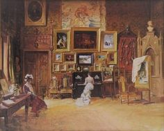 "Theodor Aman ~ (Romanian: ~ ""Artist Studio in Paris"" Paris Painting, Painting Studio, Painting & Drawing, Pick Art, Famous Artwork, Social Art, Fashion Painting, Henri Matisse, National Museum"