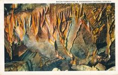 Bacon Formations in Shenandoah Caverns, Virginia Postmarked July 1934
