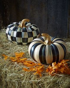 -5YN5 MacKenzie-Childs Courtly Check & Courtly Stripe Small Squash Pumpkins