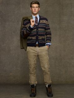 Fair Isle V-Neck Cardigan. Win Ralph Lauren discount Gift Cards on http://www.cityhits.com and use them towards v-neck cardigans like this one. #mens #fashion #fall2013