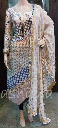 Code:1507162 - Redy Made Chanderi salwar Suit, Price INR:2390/-