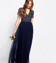 Maya Tall V Neck Maxi Tulle Dress With Tonal Delicate Sequins #prom
