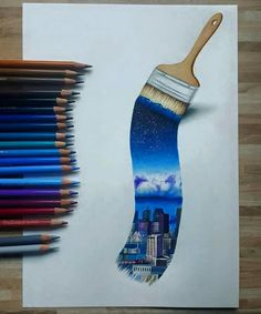 Incredible coloured pencil drawing of a paint brush painting a night time city scene! #drawing #art #pencil #colouredpencils #pencilart