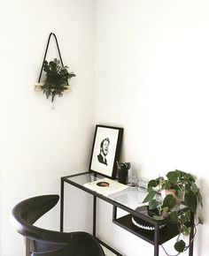 Monochrome office styling. Hanging wall vase by kirraleeandco. Photo by Kirralee…