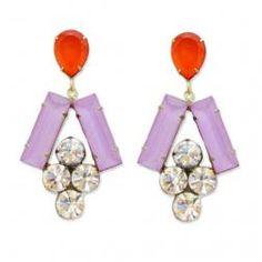 Loren Hope Petra Earrings in Orchid/Tangerine Jewelry Box, Jewelery, Jewelry Accessories, Fashion Accessories, Purple Accessories, Jewelry Party, Statement Earrings, Drop Earrings, Diamond Earrings