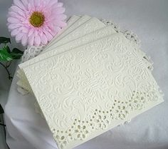 Vintage Lace Doily, Embossed Note Cards, Cream, Wedding, Tea, Embossed Cards and Envelopes, Shabby Chic, 50 Card Set. $74.99, via Etsy.