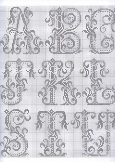 Thrilling Designing Your Own Cross Stitch Embroidery Patterns Ideas. Exhilarating Designing Your Own Cross Stitch Embroidery Patterns Ideas. Cross Stitch Alphabet Patterns, Embroidery Alphabet, Cross Stitch Letters, Cross Stitch Charts, Cross Stitch Designs, Stitch Patterns, Embroidery Patterns, Monogram Alphabet, Monogram Fonts