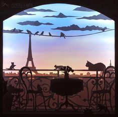 The Balcony Shadowbox Diorama Light box Paperart image 0 3d Paper Art, 3d Paper Crafts, Tour Eiffel, Shadow Box, Licht Box, Balcony Lighting, Paper Light, Luz Led, Light And Shadow