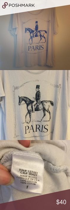 WildFox Paris Horse Tshirt Short sleeve casual soft off white grayish color man riding a horse Paris graphic tee shirt. 2 small distressed holes- pictured- not that noticeable. Tagged size 1 = S. Oversized baggy fitting. Wildfox Tops Tees - Short Sleeve