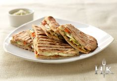 HELL'S KITCHEN Grilled Vegetable, Smoked Mozzarella and Walnut Pesto Naan Panini recipe