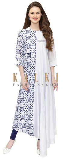Printed Cream and Blue Cotton Silk Boho Chic Kurta only on Kalki