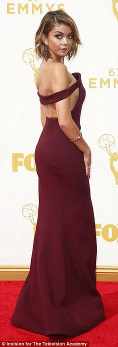 Designer look: Designed by Zac Posen, Sarah's dress hugged her shape before flaring out in the skirt