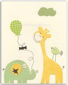Nursery Art Decor, Kids Print, Baby room, baby nursery art print, baby elephant, yellow giraffe,neutral, green, yellow, cream and brown. $17.00, via Etsy.