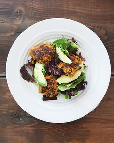 Sweet potato patties and avocado salad by the little red house, via Flickr