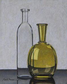 HENK BOON Beeldend kunstenaar : Compositie flessen transparant en geel groen, olieverf/paneel, 20 X 16 cm