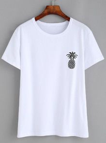 Shop Pineapple Print Loose T-shirt online. SHEIN offers Pineapple Print Loose T-shirt & more to fit your fashionable needs. White Cotton T Shirts, Cotton Tee, Pineapple Print, Ellesse, Tee Shirt Designs, Tank Top Shirt, Cute Shirts, Printed Shirts, Shirt Style