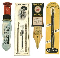 Bookmarks advertising fountain pens c. 1910-30.