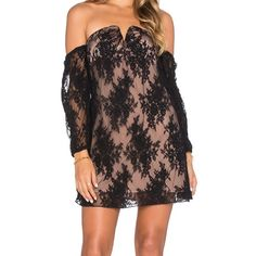 Nwt Line & dot coco lace tube dress size small TURN HEADS IN THIS MINI DRESS ADORNED IN AN ALLOVER BLACK LACE DESIGN AND OFF-THE-SHOULDER SHEER LACE SLEEVES. FINISHED WITH A V-CUT NECKLINE AND EXPOSED BACK ZIPPER FOR AN EDGY FLAIR, THIS DRESS IS PERFECT FOR A GIRLS NIGHT OUT. PARTIALLY LINED, SEMI-SHEER Line & Dot Dresses Mini