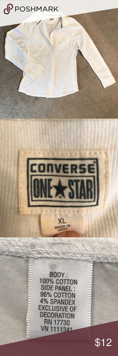 Converse One Star white button down shirt Size XL fits like a 12.  Side panels provide stretch.  Sleeves have an inside tab and an outside button so that you can roll them up and button them. Converse Tops Button Down Shirts