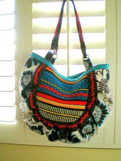 large handbag, purse, tote, Hobo, tribal, ethnic, vintage woven fabric, anthropology inspired. $69.99, via Etsy.