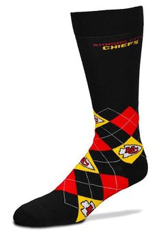 Kansas City Chiefs Black Mens Argyle Socks | KC Chiefs Chiefs Mens Argyle Socks