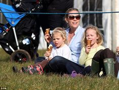 The Queen's great grandchildren Isla (left) and Savannah (right) Phillips joined their mother Autumn and grandmother Princess Anne at Gatcombe horse trials today