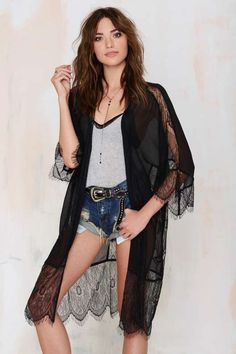 Lash Out Lace Kimono - Black - Jackets + Coats