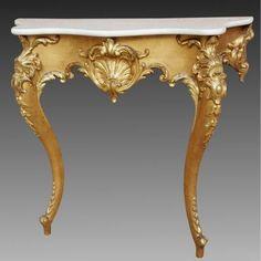 Ancien Console Louis XV en bois doré - du 19ème siècle Luxury Furniture, Furniture Design, Center Table, Marble Top, Entryway Tables, Foyer, Wood Carving, Decoration, Console Table