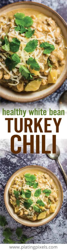 Quick and easy Healthy White Bean Turkey Chili Lightened up with lean protein cannellini beans zucchini pepper jack cheese stock and spices for a gluten free chili ad ww. Chili Recipes, Turkey Recipes, Soup Recipes, Cooking Recipes, Dinner Recipes, Recipies, White Bean Turkey Chili, Healthy Turkey Chili, White Chili