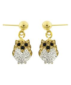 Look what I found on #zulily! White & 14k Gold Owl Drop Earrings Made With SWAROVSKI ELEMENTS by ReLex #zulilyfinds
