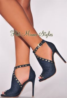 Denim Gold Studded High Heel Booties : Mükemmel ve rahat High Heels Boots, Shoes Heels Wedges, Black High Heels, Lace Up Heels, Shoe Boots, Sexy Heels, Denim Heels, Strappy Heels, Ankle Boots
