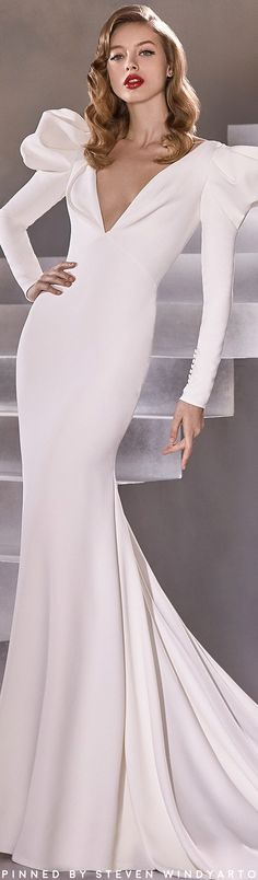 Beautiful Wedding Gowns, Best Wedding Dresses, Pronovias Bridal, Mermaid Silhouette, Crepe Fabric, Wedding Bride, Wedding Stuff, Lookbook, Crepe Dress