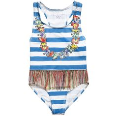 Baby girls blue and white stripe sun protective swimsuit by Stella McCartney Kids with a Hawaiian skirt and floral neckline print. Silky smooth and stretchy, it has wide shoulder straps.<br /> <ul> <li>UPF50 (Ultra-violet Protection Factor)<br /></li> <li>95% cotton, 5% elastane (silky soft & stretchy)</li> <li>Machine wash (40*C)</li> <li>Style name: Marcie </li> <li>Very small fitting</li> <li>Not available for shipping to USA</li> </ul>