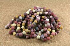 Mookaite Matte Round Beads - Maroon Yellow and Purple Smooth Beads, 16 inch strand