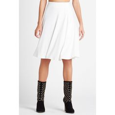 BCBGeneration Flowy Pleat Midi Skirt ($88) ❤ liked on Polyvore featuring skirts, white, white knee length skirt, white pleated skirt, below the knee skirts, white a line skirt and midi skirt