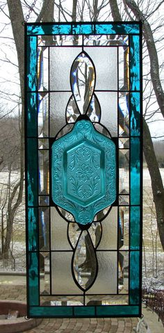 Beveled Sidelight Transom window Teal by Barbarasstainedglass