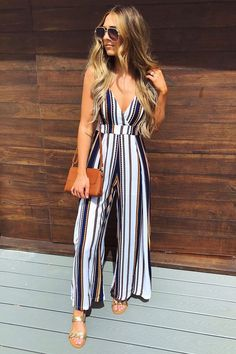 striped jumpsuit-Morning summer outfit ideas – Just Trendy Girls - striped dress summer outfits summer dress outfit blue summer dress outfit blue summer dress outfit outfits baby blue dress - blue dress outfit - Summer Blue Dresses 2019 Trendy Dresses, Trendy Outfits, Trendy Fashion, Fashion Outfits, Fashion Ideas, Fashion Spring, Moda Outfits, Womens Fashion, Affordable Fashion