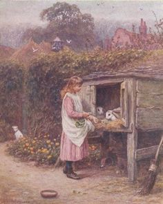 The Rabbit Hutch. Helen Allingham (1848 – 1926, English)